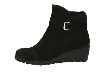 Caprice dámské kotníkové boty na klínovém podpatku - černé