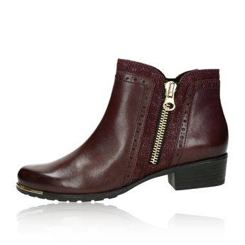 Caprice dámské kožené kotníkové boty - bordó