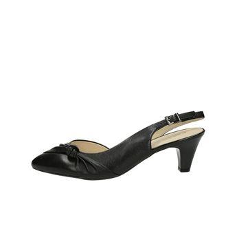 Caprice dámské kožené sandály s řemínkem - černé