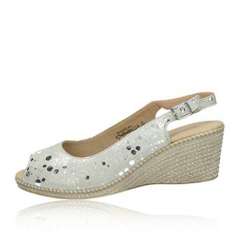 Caprice dámské kožené sandály na klinové podrážce - stříbrné