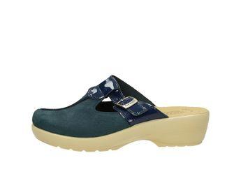 Fly Flot dámské kožené pantofle nazouváky - modré f35d54b7d9