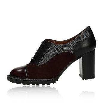 Hispanitas dámské kožené kotníkové boty - bordó