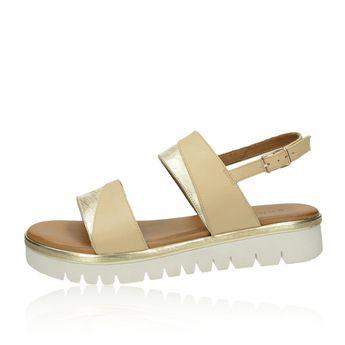 Inuovo dámske kožené stylové sandály s řemínkem - béžovozlaté