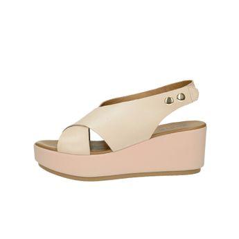 Inuovo dámské stylové kožené sandály na klinové podrážce - růžové