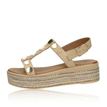Inuovo dámské stylové sandály na klinové podrážce - béžové