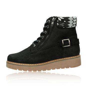 Klondike dámské kožené zateplené kotníkové boty - černé