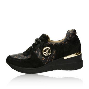 Olivia shoes dámské kožené tenisky na klinové podrážce - černé