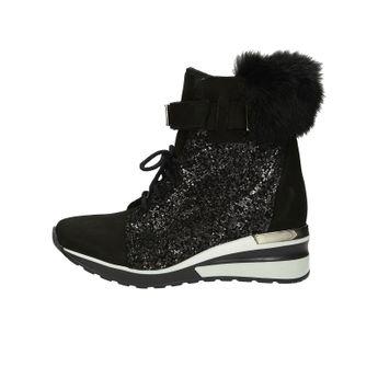 Olivia shoes dámské nubukové kotníkové boty na suchý zip - černé
