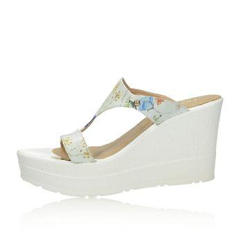 Olivia shoes dámské stylové nazouváky na klinové podrážce - bílé