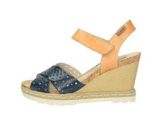 Pikolinos dámské sandály na klínové podešvi - modrohnědé