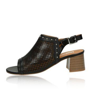 Regarde le ciel dámské kožené perforované sandály - černé