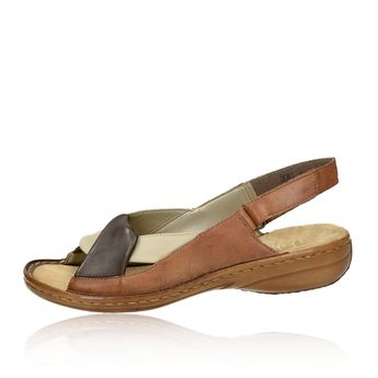 Rieker dámské kožené sandály - hnědé