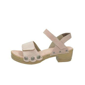 Rieker dámské semišové sandály na podpatku - růžové