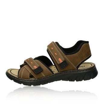Rieker pánské sandály na suchý zip - hnědé