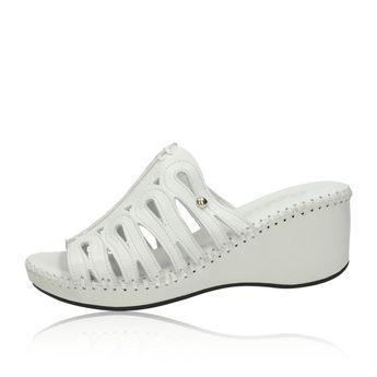 Robel dámské stylové nazouváky na klinové podrážce - bílé