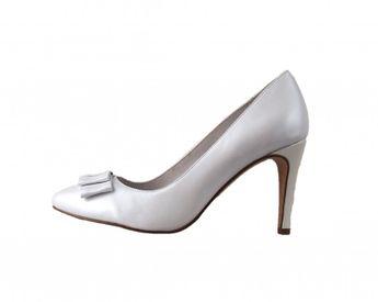 Tamaris dámské lodičky na podpatku - bílé