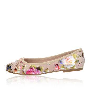 Tamaris dámské pohodlné balerínky s květovým motívem -  růžové