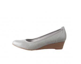 Tamaris dámské balerínky na plném podpatku - šedé