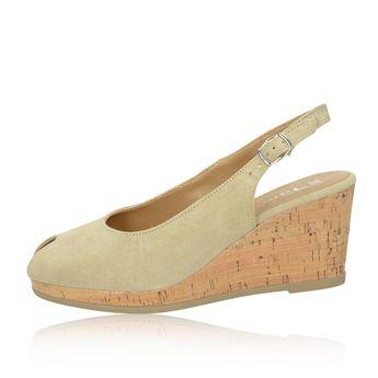 Tamaris dámské semišové sandály na klinové podrážce - béžové 260352afcb