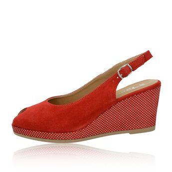 8815f2083ad Tamaris dámské semišové sandály na klinové podrážce - červené