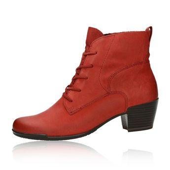 Tamaris dámské stylové kotníkové boty - červené eed4a69626