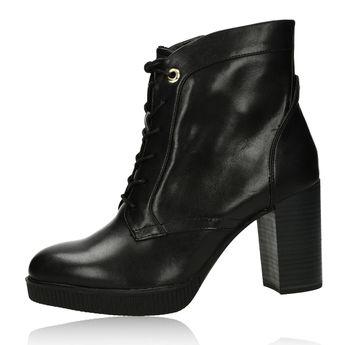 Tamaris dámské stylové kotníkové boty na podpatku - černé