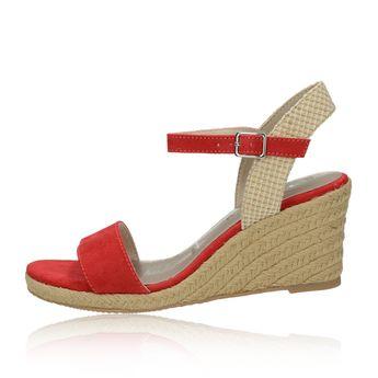 Tamaris dámské stylové sandály na klinové podrážce - červené
