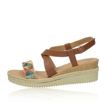 Tamaris dámské stylové sandály na klinové podrážce - hnedé