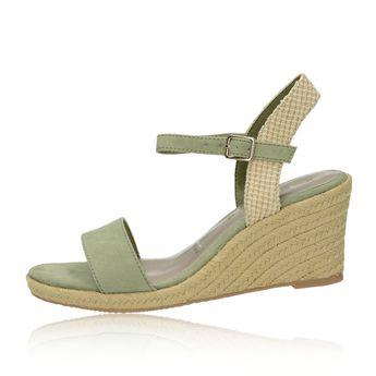Tamaris dámské stylové sandály na klinové podrážce - olivové