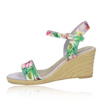 Tamaris dámske stylové sandály na klinové podrážce - vícebarevné