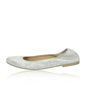 Tamaris dámské stylové semišové balerínky - stříbrné