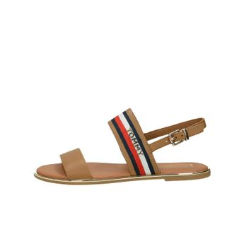 Tommy Hilfiger dámské kožené stylové sandály - hnědé