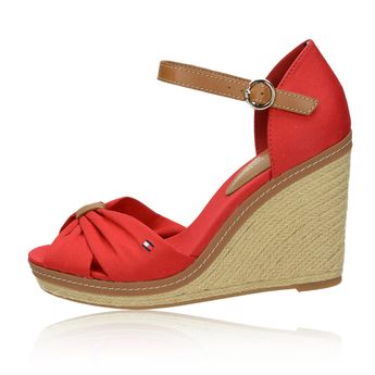 Tommy Hilfiger dámské stylové sandály na klinové podrážce - červené