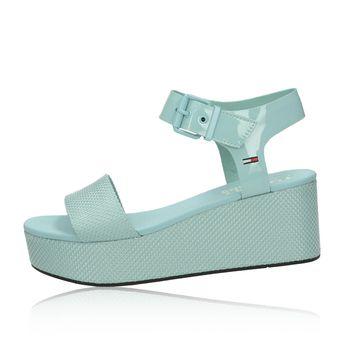 Tommy Hilfiger dámské stylové sandály na klinové podrážce - slabomodré