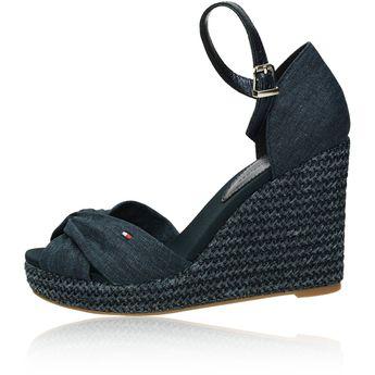 Tommy Hilfiger dámské štýlové sandály na klinové podrážce - tmavomodré