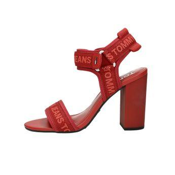 Tommy Hilfiger dámské stylové sandály na suchý zip - červené