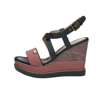 Wrangler dámské stylové sandály na klinové podrážce - červené