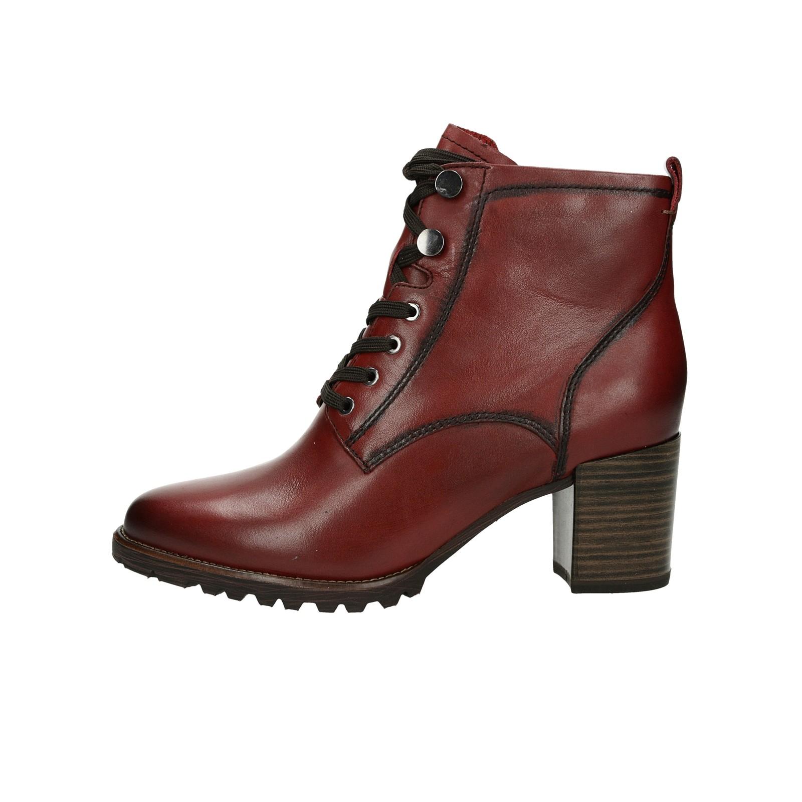 Tamaris dámské kožené stylové kotníkové boty - bordó
