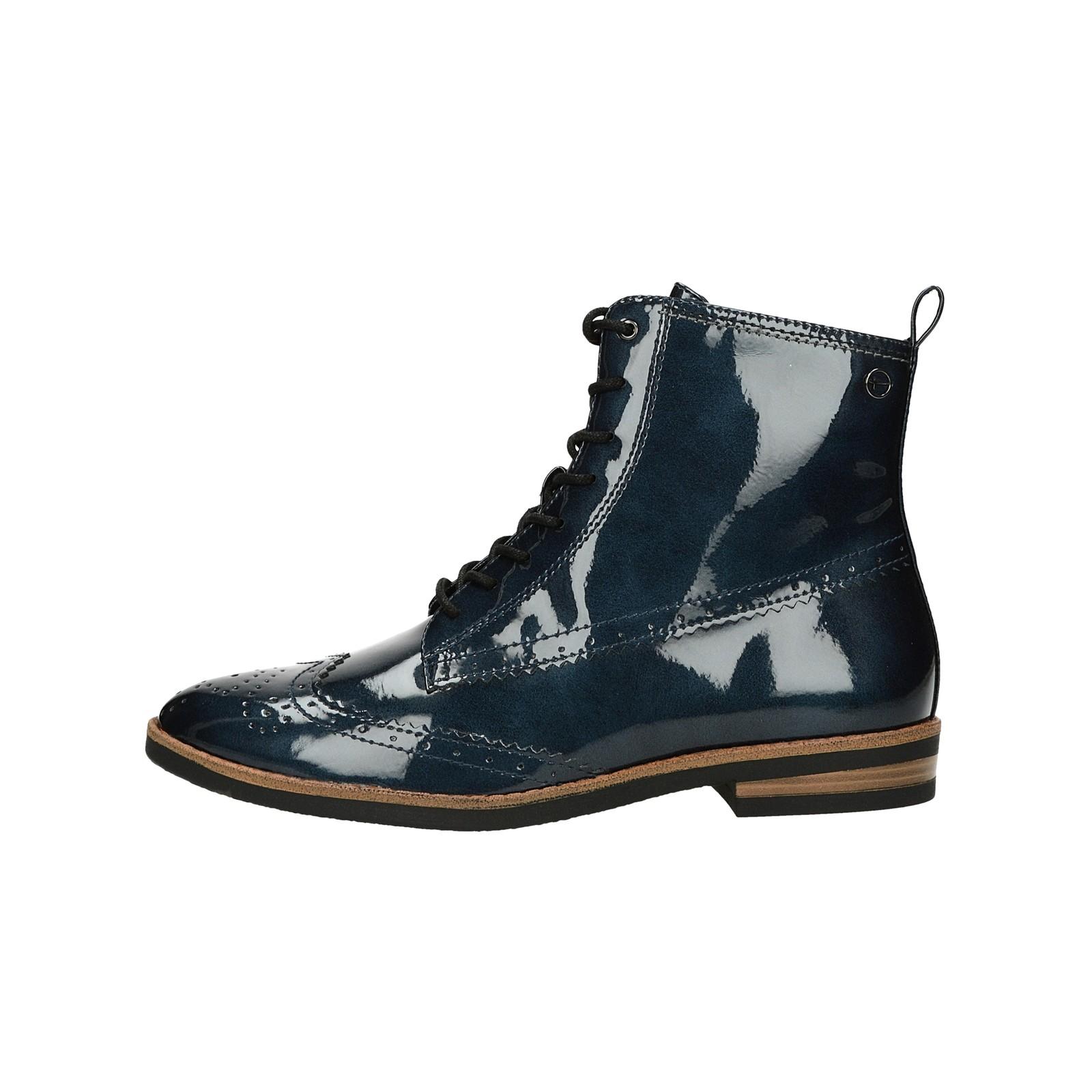 a364501f8e ... Tamaris dámské lesklé kotníkové boty na zip - tmavomodré ...