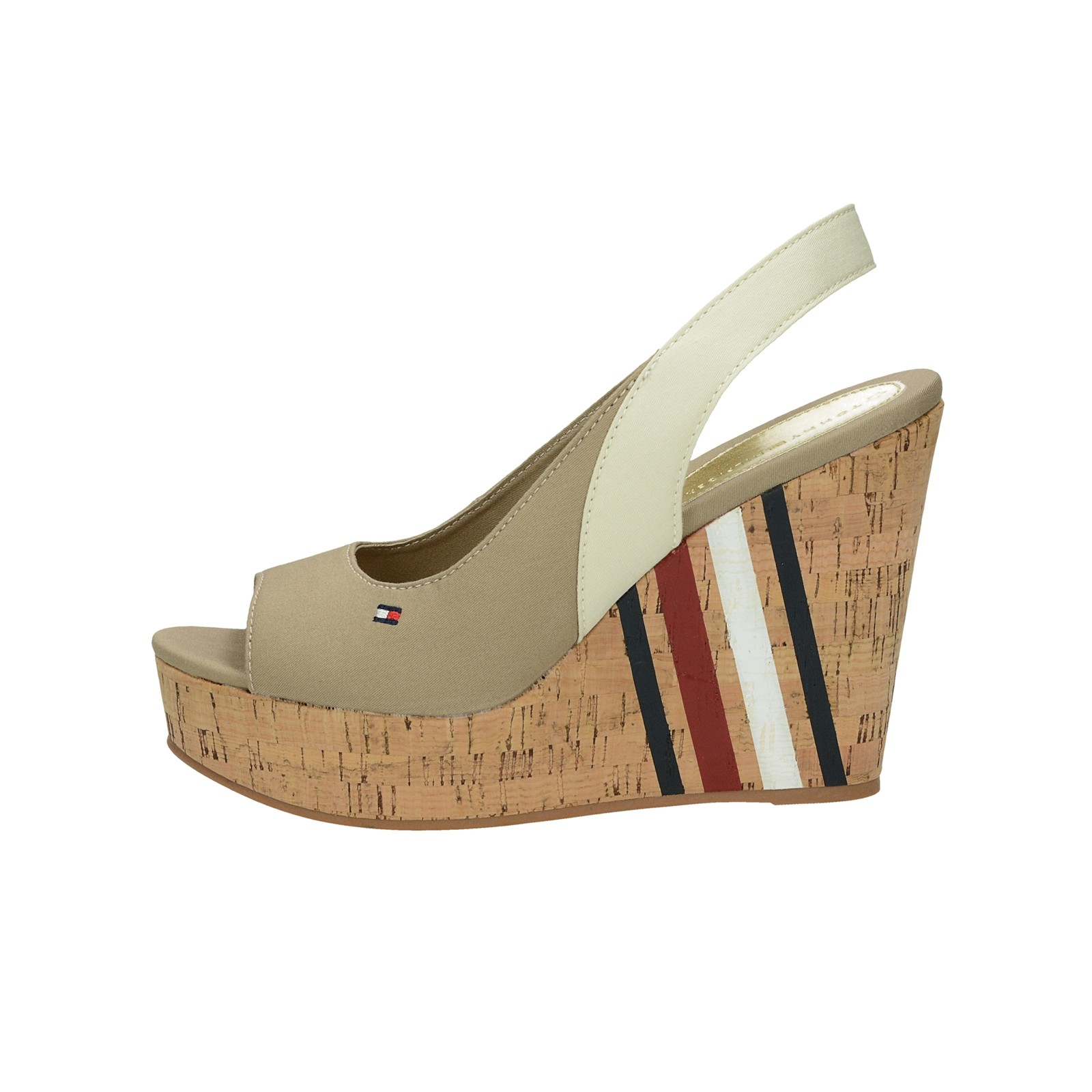 Tommy Hilfiger dámské stylové sandály na klinové podrážce - béžové