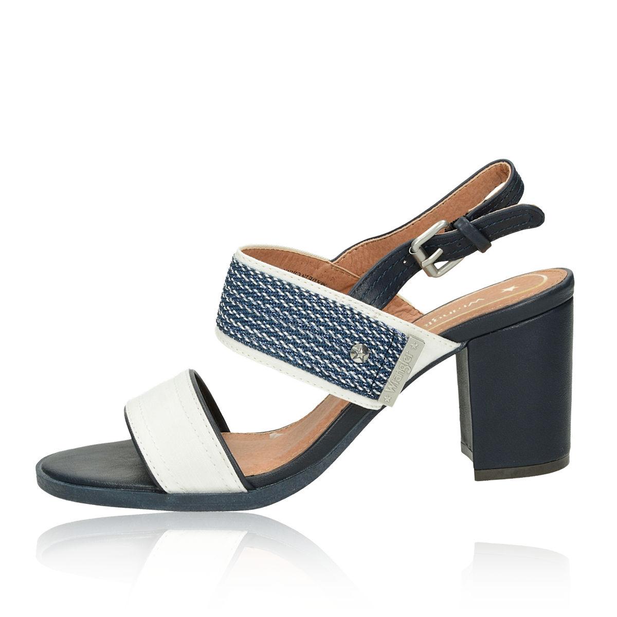 d9f76a08d Wrangler dámské stylové sandály na podpatku - modrobílé | WL91631A ...